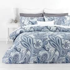 in 2 linen paisley blue floral 300tc cotton quilt doona cover set