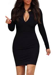 often women lady keyhole with metal buckle bodycon pencil party