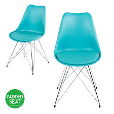 buy set of 2 minsk cushioned dining chair chrome legs turquoise