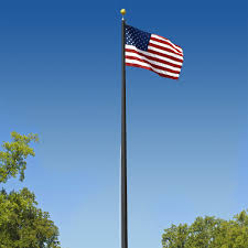 Boat Flag Poles Commercial Grade Sectional 20ft Flagpole Black Anodized