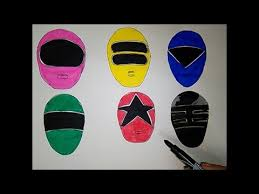 power rangers zeo coloring ranger masks heads red yellow