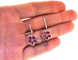 flower earrings womens diamond ruby flower drop earrings 14k yellow gold 2 21 ct