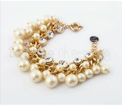 charm bracelet pearl images Classic pearl charm bracelet with diamante png