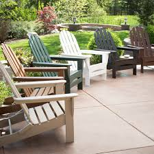 furniture polywood adirondack chairs on concrete flooring