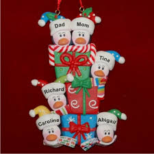 penguin family of 6 with gifts personalized