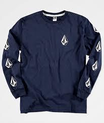 volcom boys deadly stones navy sleeve shirt zumiez