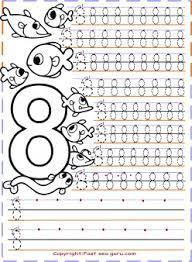 kindergarten number 8 tracing worksheets printable coloring