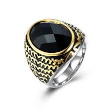 men vintage rings images Lureme fashion vintage jewelry mens titanium steel fancy jet black jpg