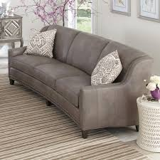 curved couch slightly curved sofa with sloping track arms and nail head trim by