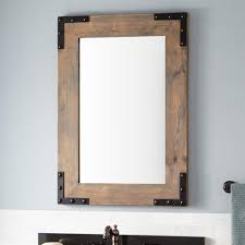 rustic bathroom vanity mirror with reclaimed wood frame real wood