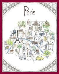 Map Of Paris France by Whimsical Map Of Paris