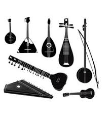 ethnic musical instruments sketches set royalty free vector