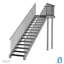 steinhaus treppen stahltreppe aufgang mit podest vorbau und geländersicherung