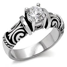 Heart Wedding Rings by Amazon Com Middle Stone Tribal Ring Irish Celtic Ring Cubic
