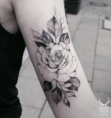 black and white flower tattoos group 60