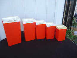 vintage retro savoy orange kitchen canister set plastic