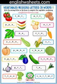 vegetables esl printable missing letters in words worksheets for
