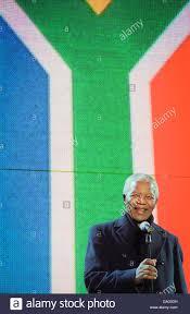 Image Of South African Flag Nelson Mandela Smiles In Front Of South African Flag Trafalgar