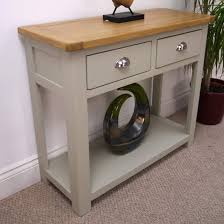 Oak Console Table With Drawers Aspen Painted Oak Console Table With Shelf 2 Drawer Hall Table