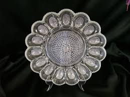 glass egg plate vintage clear glass deviled plate myvintagepleasures artfire gallery
