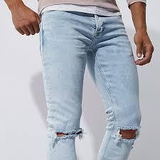 mens light blue jeans skinny river island light blue ripped knee skinny jeans 302470 men jeans