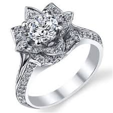 lotus flower engagement ring 2 42ct white cut diamond lotus flower engagement wedding