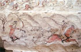a mural tomb of the northern dynasties at jiuyuangang in xinzhou the cavalrymen hunting bear scene in the second register of the mural on the