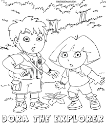 coloring page dora explorer feed