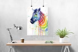 Zebra Home Decor by Watercolor Painting Rainbow Zebra Zebra Art Girls Room