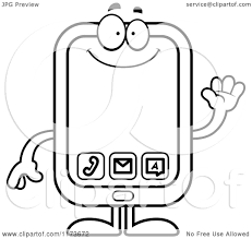 cartoon clipart of a waving smart phone mascot vector outlined