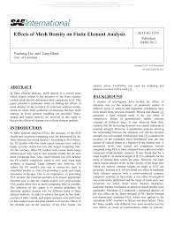 effects of mesh density on finite element analysis pdf download