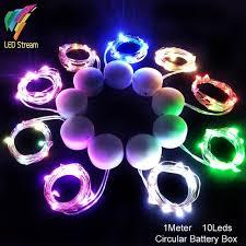 10 mini light string 10pcs 10 led string light with 2 cr2032 circular battery box copper