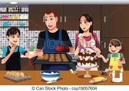 cuisine famille heureux vecteur illustration famille cuisine clipart vectoriel