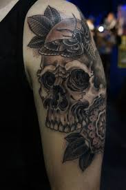 beautiful skull a flower in the style of tribal and