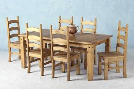 Solid Oak Dining Table And 6 Chairs Alluring Corona Mexican Pine Dining Set 70 Inch Table 6 Chairs On