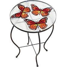 Patio Accent Table Butterfly Glass Painted Indoor Outdoor