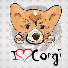 card with cute cartoon dog breed welsh corgi pembroke royalty