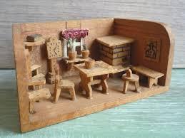 Dolls House Furniture Sets Vintage Miniature Wooden Roombox Erzgebirge Room Set Box Tiny