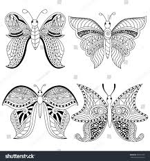 set 4 gorgeous butterfly coloring page stock vector 387017935