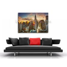 large framed wall art new york city landscape sunset picture print cityscape canvas art