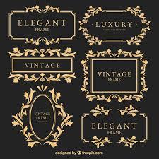 vintage design vintage golden frames set vector free
