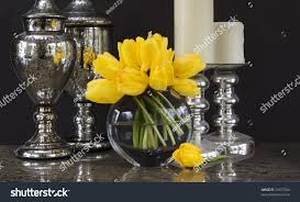 vase yellow tulips silver home decor stock photo 22977964
