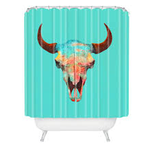 terry fan turquoise sky shower curtain deny designs home accessories