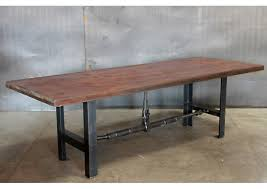 steel and wood table wood top vintage steel base table