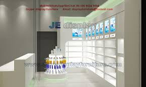 wall display cabinet with glass shelves for store furniture in led