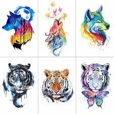 wyuen watercolor wolf tiger temporary tattoos waterproof