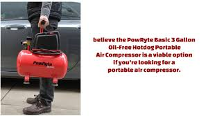 powryte basic 3 gallon oil free hotdog portable air compressor