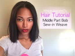 12 inch weave length hairstyle pictures middle part bob sew in weave tutorial jasmine defined youtube
