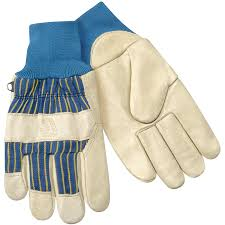 heatloc grain pigskin winter gloves with knit wrist cuff