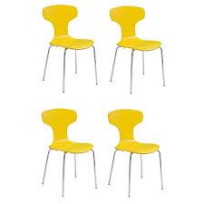 chaises jaunes lyon lot de 4 chaises jaunes pieds métal chromés contemporain